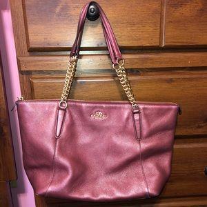 Coach tote purse in metallic cherry